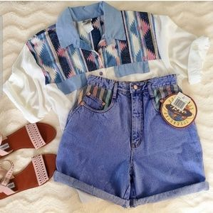 Vintage Rio High Waisted Fly Buttom Shorts